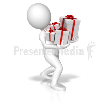 Figure Carrying Christmas Presents Presentation clipart