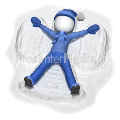 Stick Figure Making Snow Angel Presentation clipart
