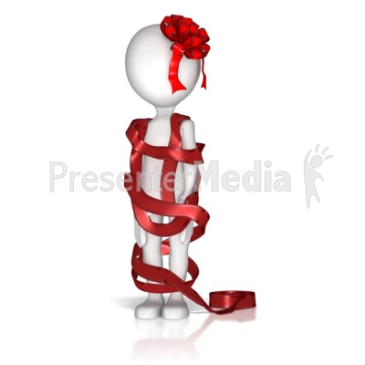 Figure Wrapped In Ribbon  Presentation clipart