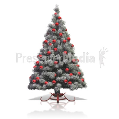 Flocked Christmas Tree Red Bulbs Presentation clipart