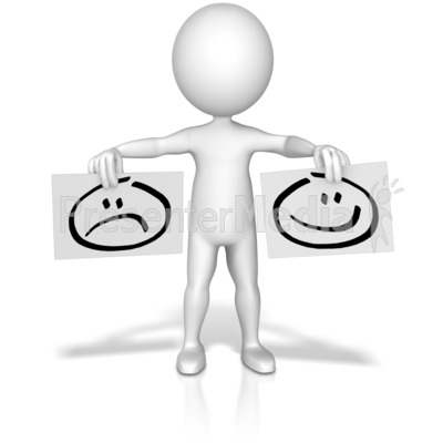 Figure Holding Happy Sad Signs Presentation clipart
