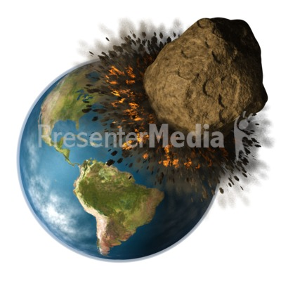 Earth Hit By Asteroid Presentation clipart