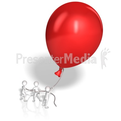 Stick Figures Hold Giant Balloon Presentation clipart