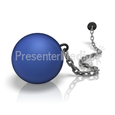 Chained Weight Ball Colored Presentation clipart