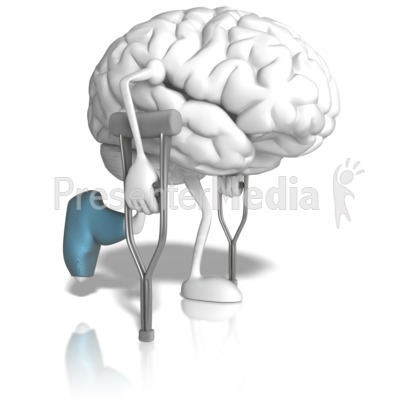 Brain With Crutches Presentation clipart