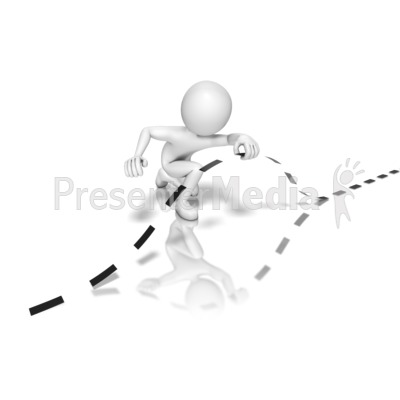 Stick Figure Going Under Border Presentation clipart