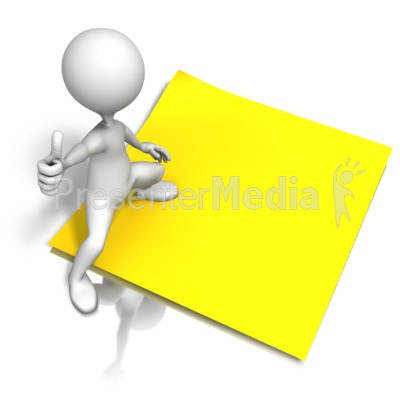Figure Standing On Blank Note Presentation clipart