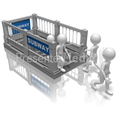 Stick Figures Subway Stairs Presentation clipart