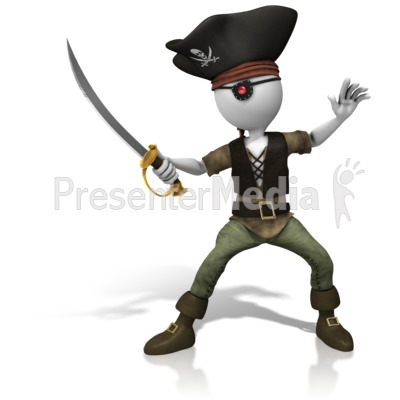 Pirate Sword On Guard Presentation clipart