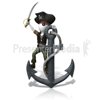 Pirate Anchored Down Presentation clipart