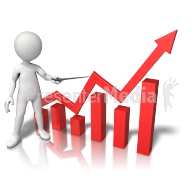Three Dimensional Graph Growth Presentation clipart