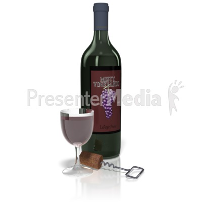 Wine And Glass Set Presentation clipart