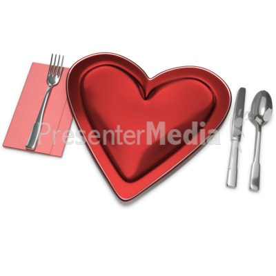 Heart Plate Setting Presentation clipart