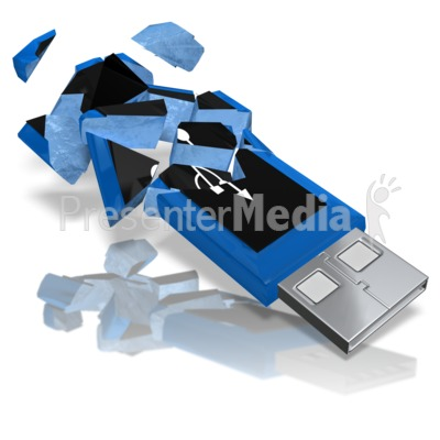 USB Drive Shattered Presentation clipart