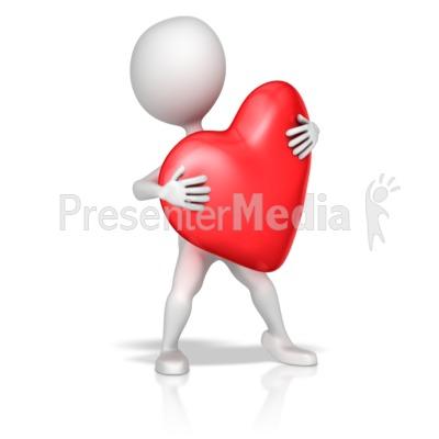 Stick Figure Holding Heart - Presentation Clipart - Great