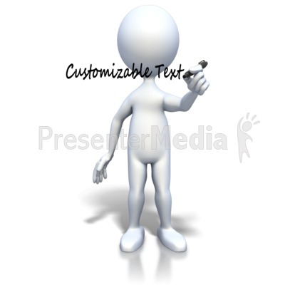 Stick Figure Writing With Black Pen Presentation clipart
