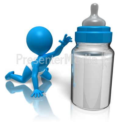 Baby Reaching For Bottle Presentation clipart