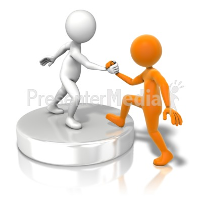 Figure Helping Up Buddy Presentation clipart