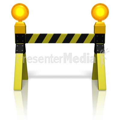 Road Block Caution Lights Presentation clipart