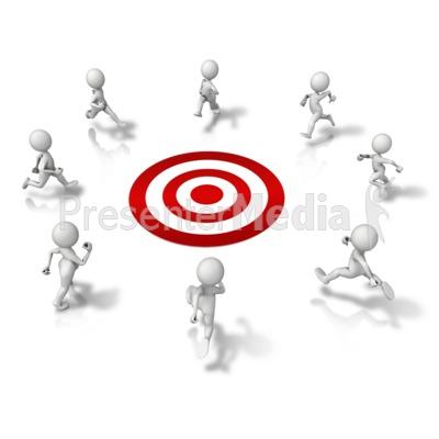 Group Running To Target Presentation clipart