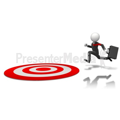Businessman Running To Target Presentation clipart