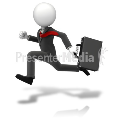 Businessman Running Suit Presentation clipart