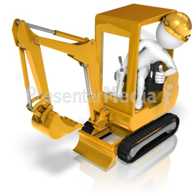 Stick Figure Posing In Backhoe Presentation clipart