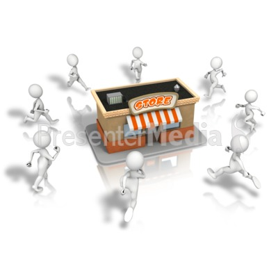 Crowd Running To Store Presentation clipart