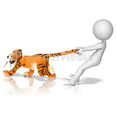 Got Tiger By The Tail Presentation clipart