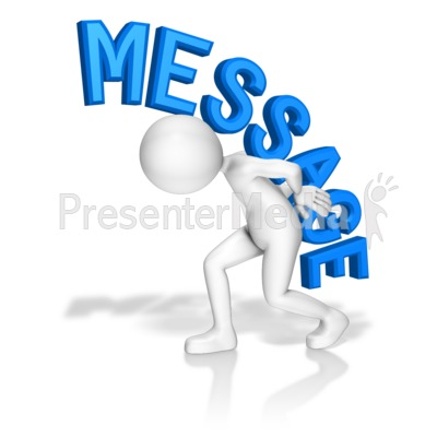 Stick Figure Carry Message Presentation clipart