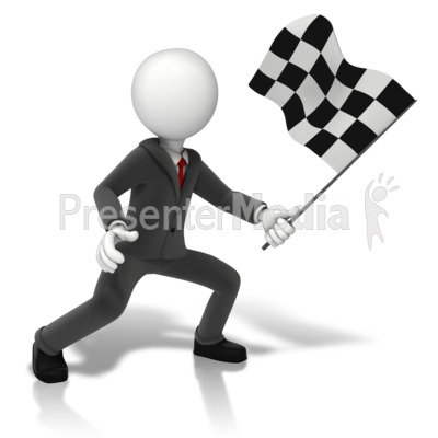Business Figure Holding Checkered Flag Presentation clipart