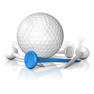 Golf Ball And Tee Standout Presentation clipart