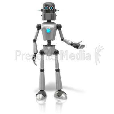 Retro Robot Presenting To Side Presentation clipart