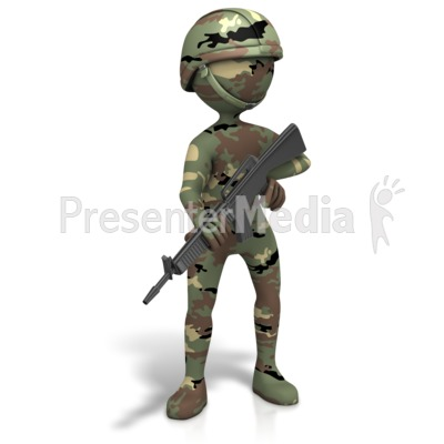 Military Figure Camo Gun Presentation clipart