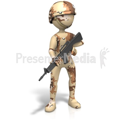 Military Figure Desert Camo Gun Presentation clipart