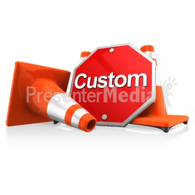 Custom Sign With Traffic Cones Presentation clipart
