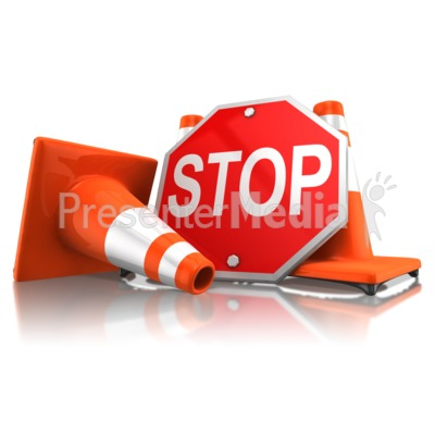 Stop Sign With Traffic Cones Presentation clipart
