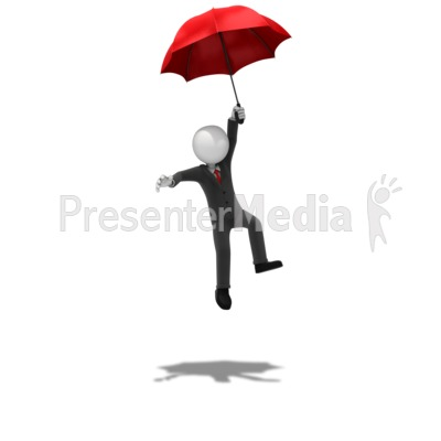 Business Figure Landing Safely Presentation clipart