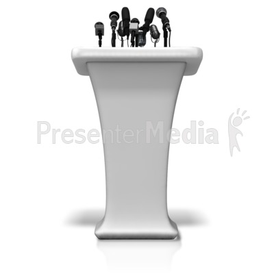 Podium With Many Microphones Presentation clipart