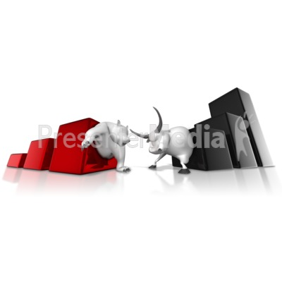 Wall Street Bear Bull Graph Battle Presentation clipart