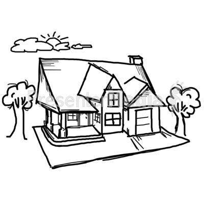 House Sky Sketch Presentation clipart