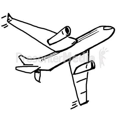 Single Airplane Sketch Presentation clipart