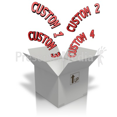 Custom Text Coming Out Of A Box Presentation clipart