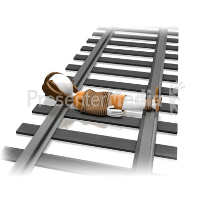 Woman Tied On Tracks Presentation clipart