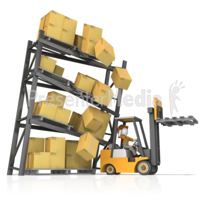 Careless Forklift Crash Presentation clipart
