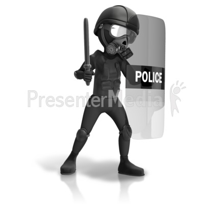 Riot Police Geared Up Presentation clipart