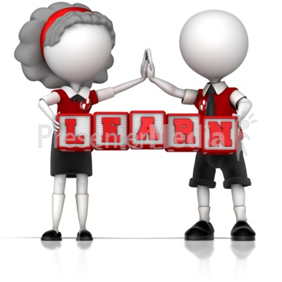 School Children Holding Learn Blocks Presentation clipart
