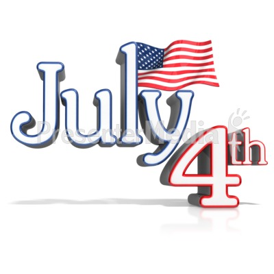 July 4th Text With Flag Presentation clipart