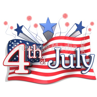 American Flag Behind Fourth of July Text Presentation clipart