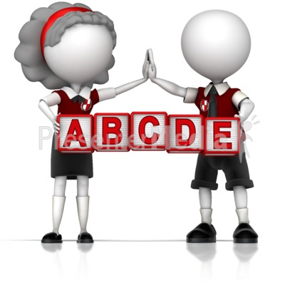 School Children Holding Custom Blocks Presentation clipart